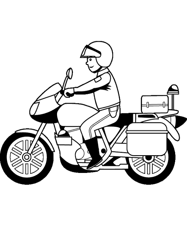 High-quality Policeman on motorbike to print and color to