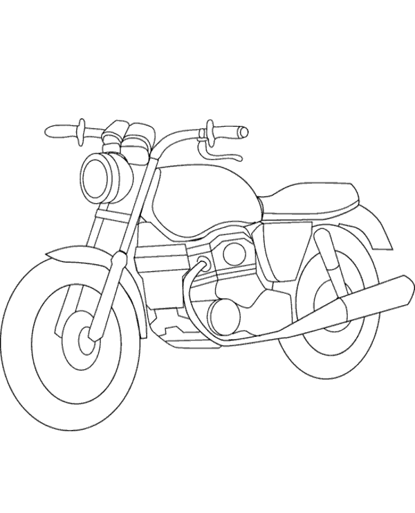 Free, printable coloring books presenting a classic motorbike