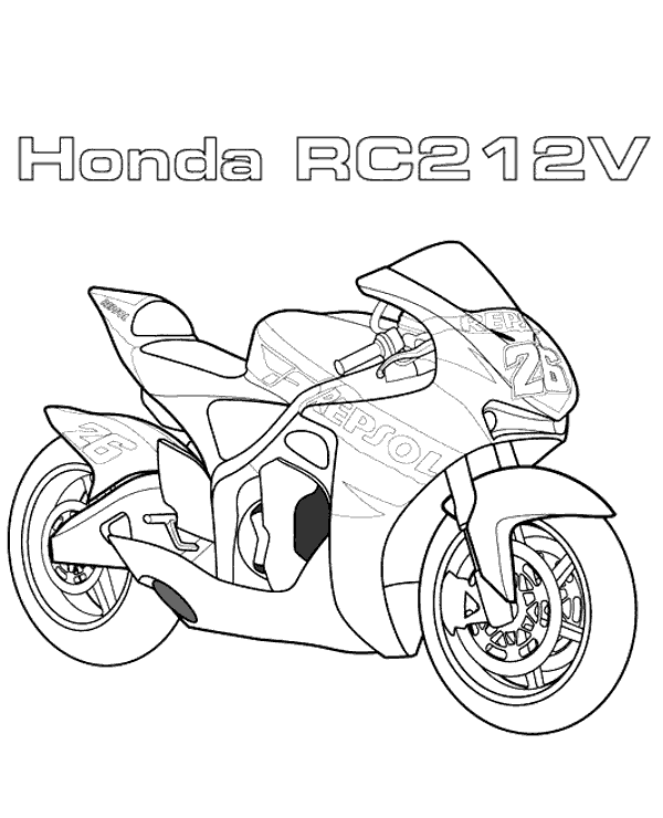 High-quality Racing motorbike Honda to print for free