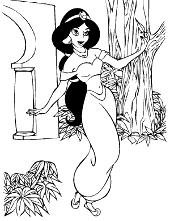 Princess Jasmine colouring page