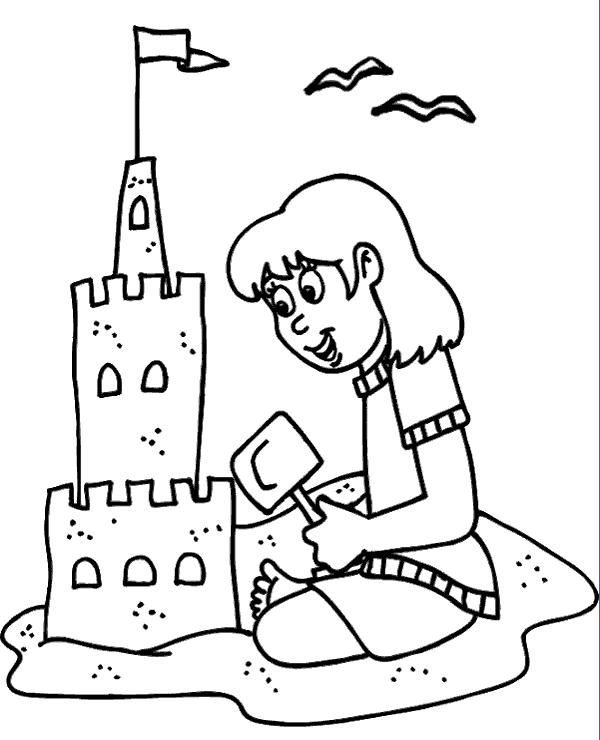 High-quality Girl building sand castle on a beach to print