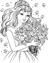 Girl bucket of flowers