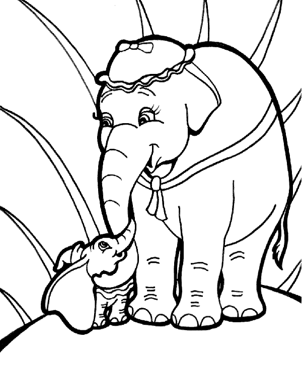 High-quality Big and small elephant on coloring sheet