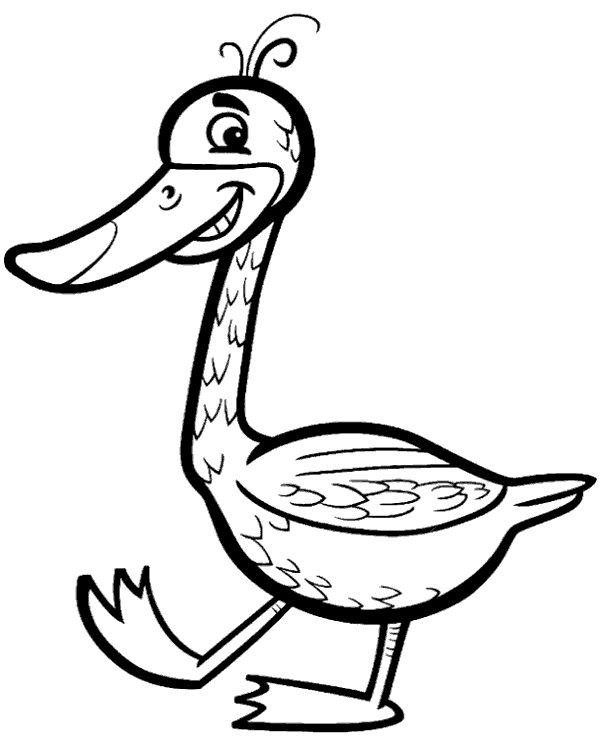 High-quality Funny duck on printable coloring page to