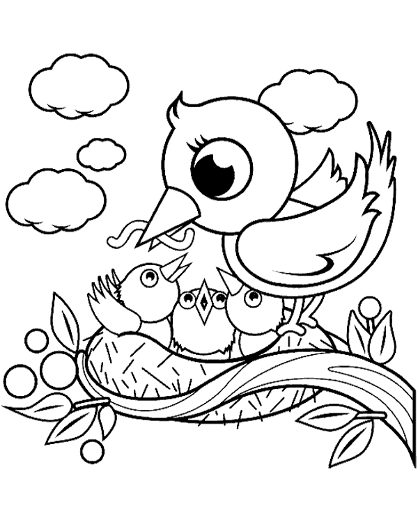 Bird's nest coloring page to print or download for free