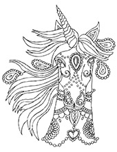 Unicorn to color for free