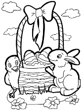 Bunny basket and little chicken