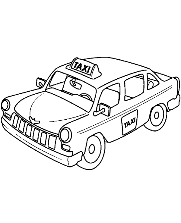 High-quality Taxi cab coloring page to print for free