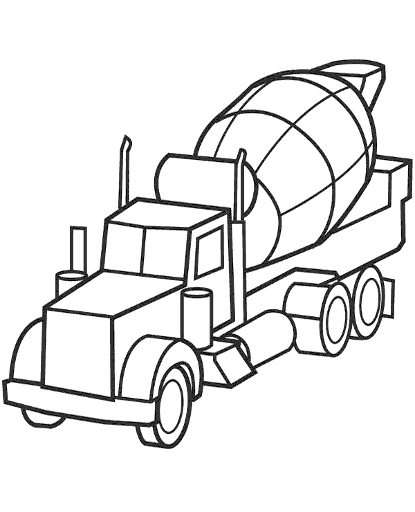 High-quality Concrete mixer printable coloring page to