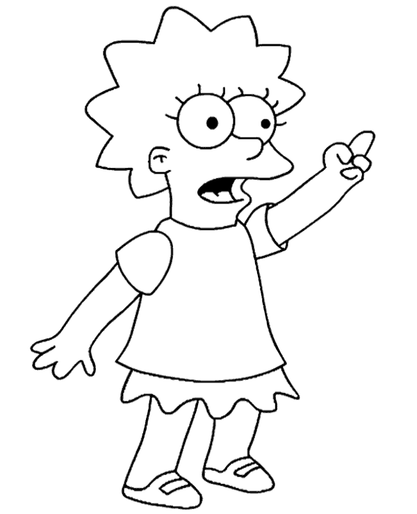 High-quality Lisa Simpson portrait to color to print for free
