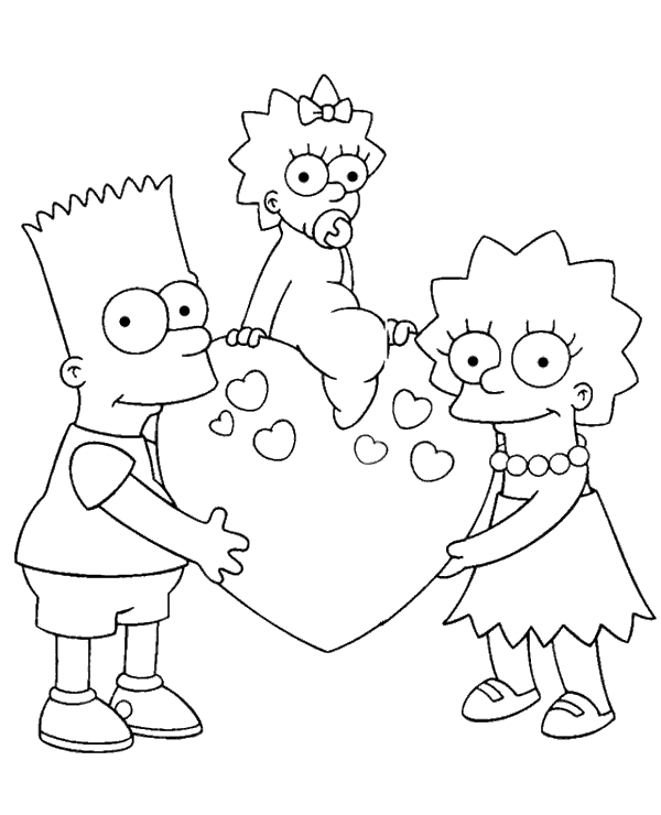 High-quality Bart, Maggie and Lisa coloring page to print