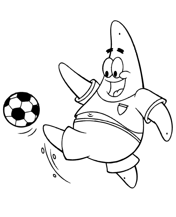 High-quality Patrick Star playing football to print for free