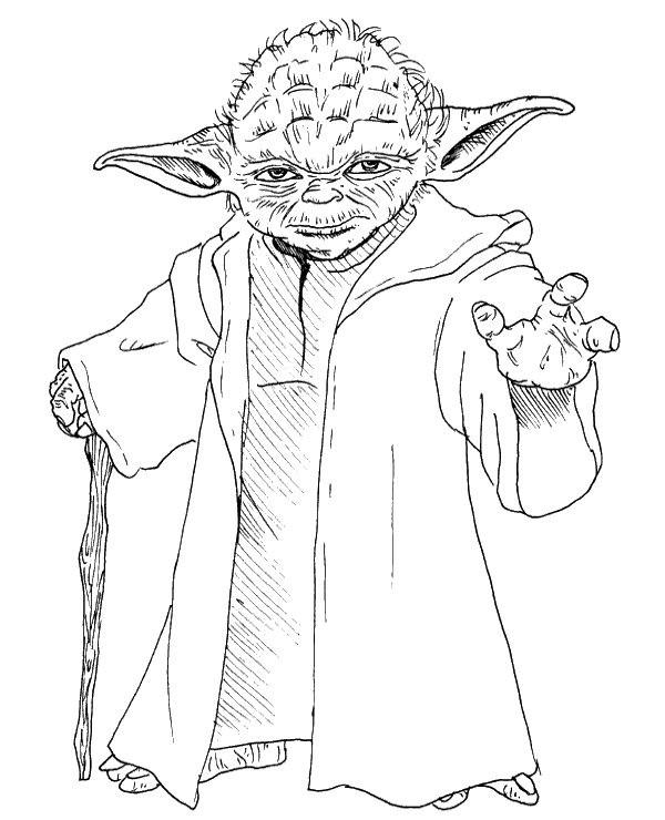 High-quality Master Yoda free coloring page to print for free