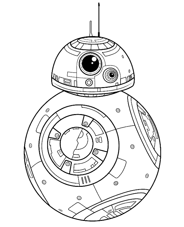 BB-8 droid printable coloring page, sheet to print or