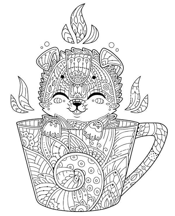 Squirrel in a mug free coloring pages for adults