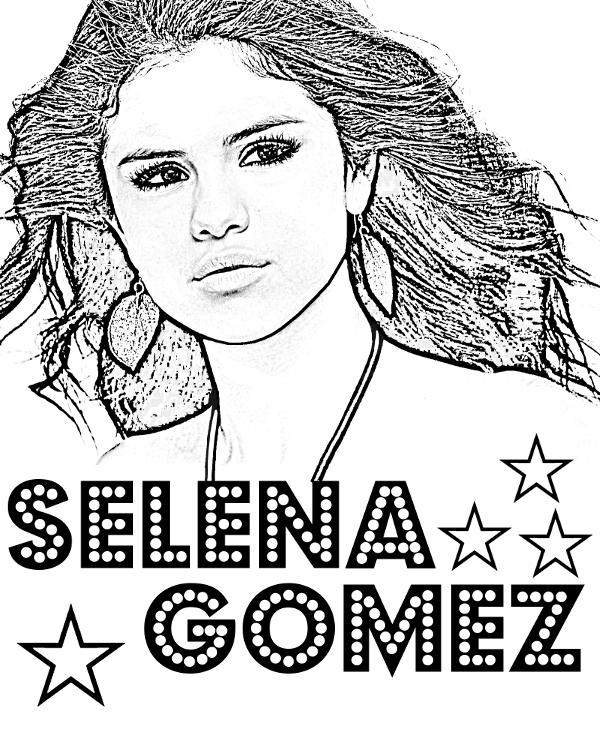 Selena Gomez Free Printable Coloring Pages Celebrity