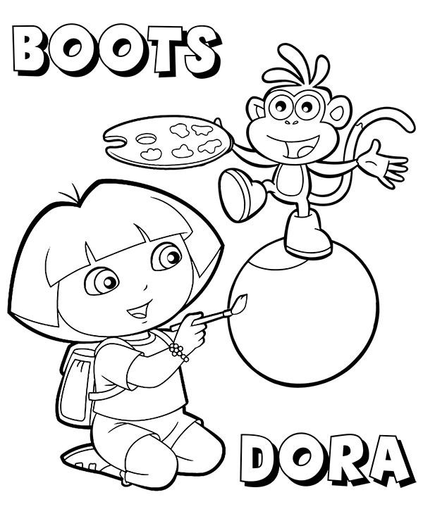 dora's best friend boots on coloring pages for kids