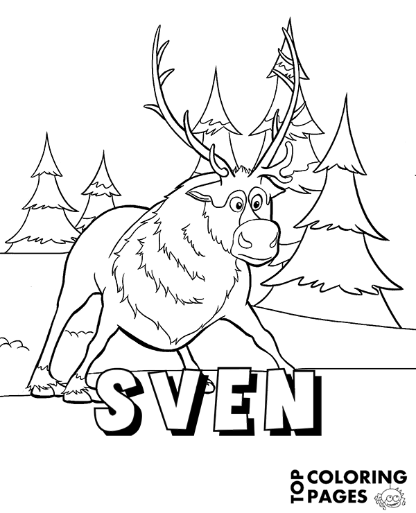 Reindeer Sven from Frozen coloring page, book, sheet