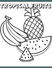 Fruit coloring sheets for children, orange, banana