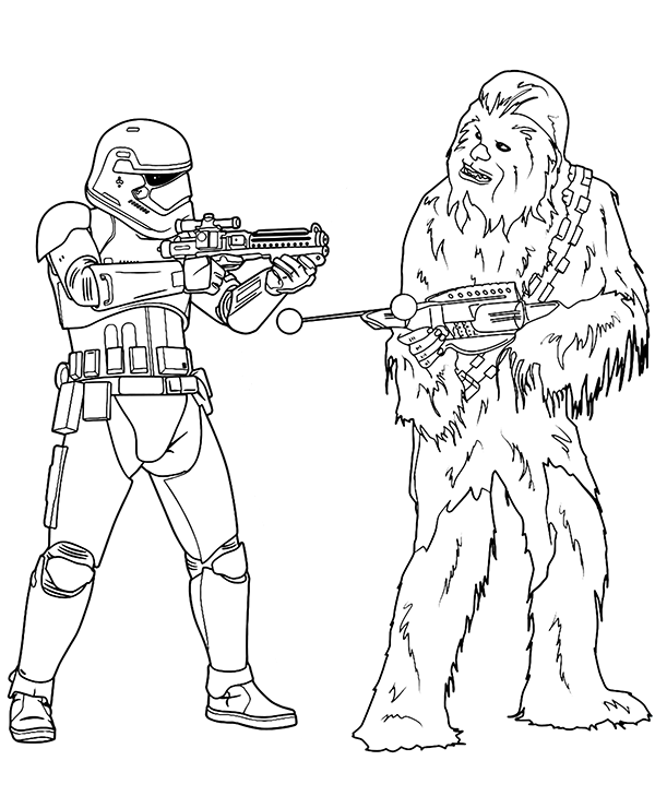 Chewbacca and Storm Trooper on free and printable coloring