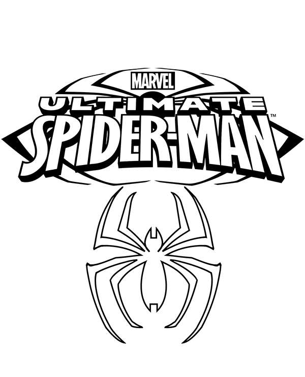 Spiderman's logo on free coloring page, sheet to download