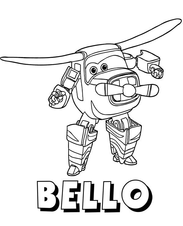 Bello coloring page with Super Wings characters