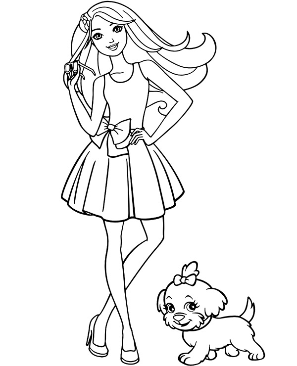 Barbie Coloring Page For Girl To Print For Free