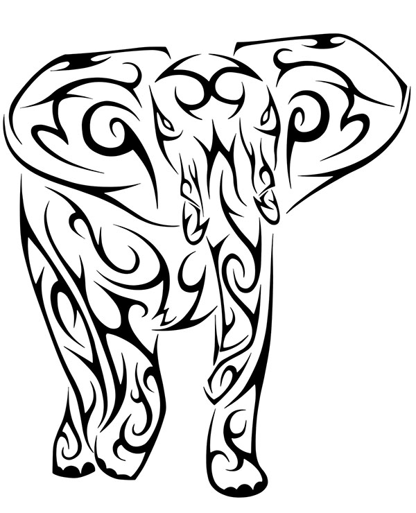 Elephant tattoo relaxing coloring pages for adults