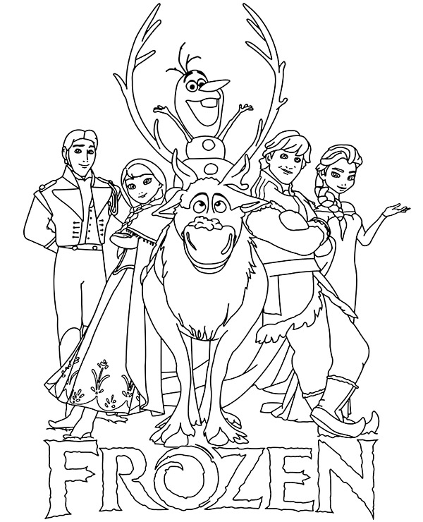 Logo and main characters Frozen coloring pages for children