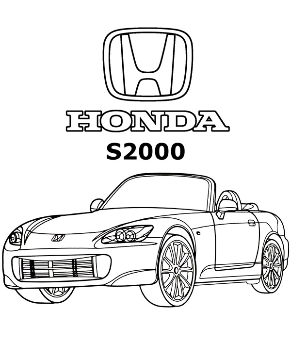 Honda Civic Coloring Pages : honda, civic, coloring, pages, Super, Honda, S2000, Coloring, Printable, Drawing
