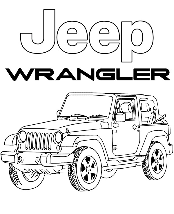 High-quality Jeep Wrangler coloring page to print for free