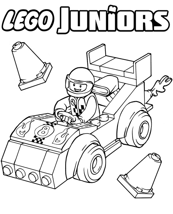 High-quality Lego racing car coloring page to print for free