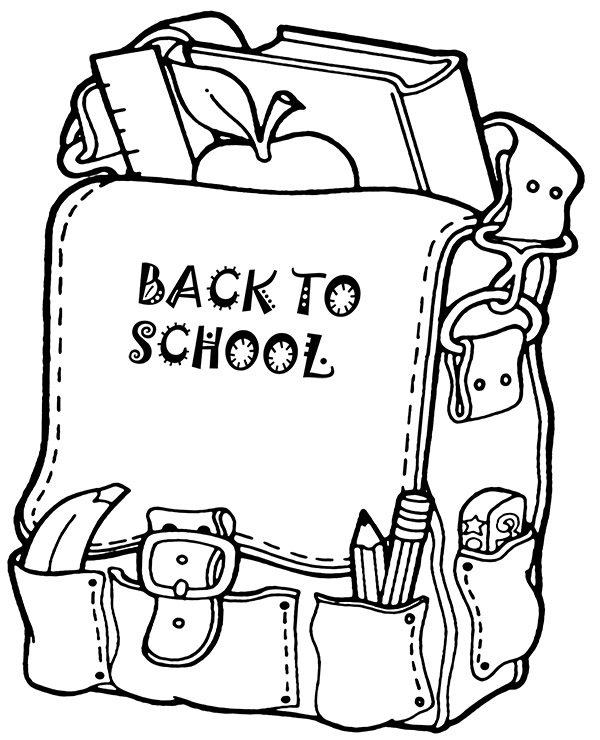 High-quality School backpack coloring page to print for free