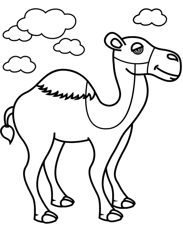 Printables for children to download camel coloring page