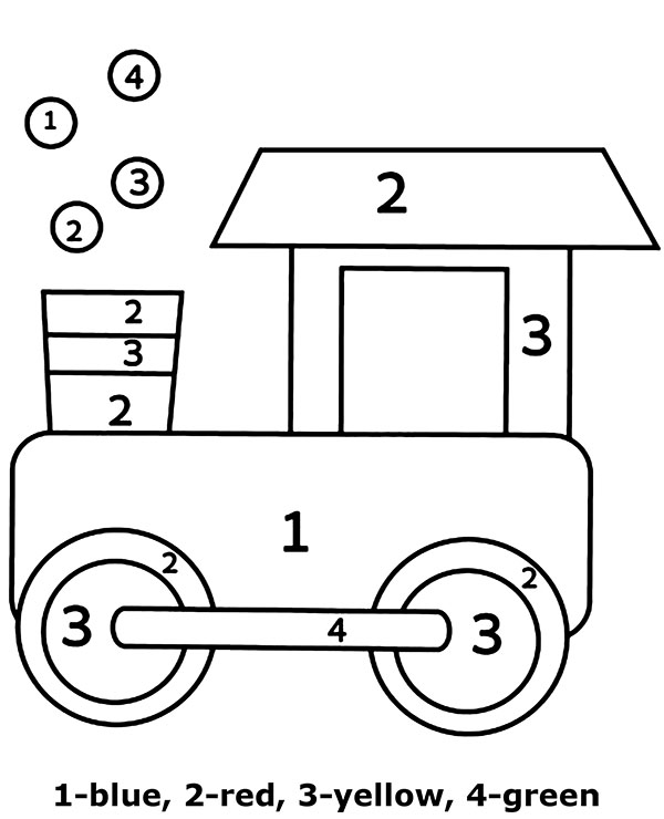 Educational printables for children color by numbers toy train