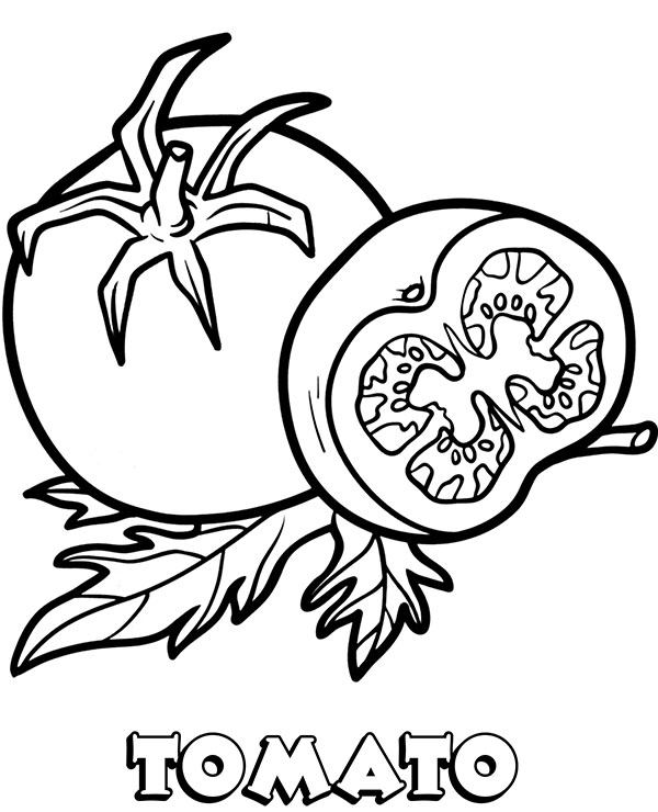 Tomato coloring worksheet to print or download for kids