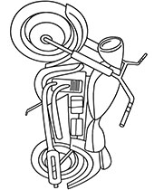 Coloring pages with motorcycles, motorbikes, motorcyclist