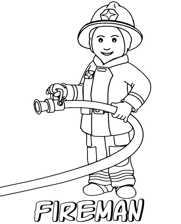 Fireman coloring page for children to print or download sheet