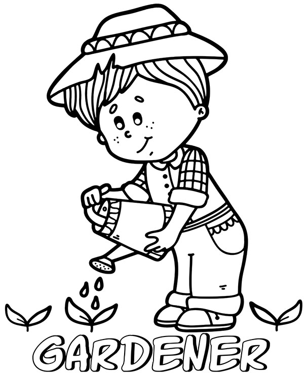 Printable gardener coloring page to print or download