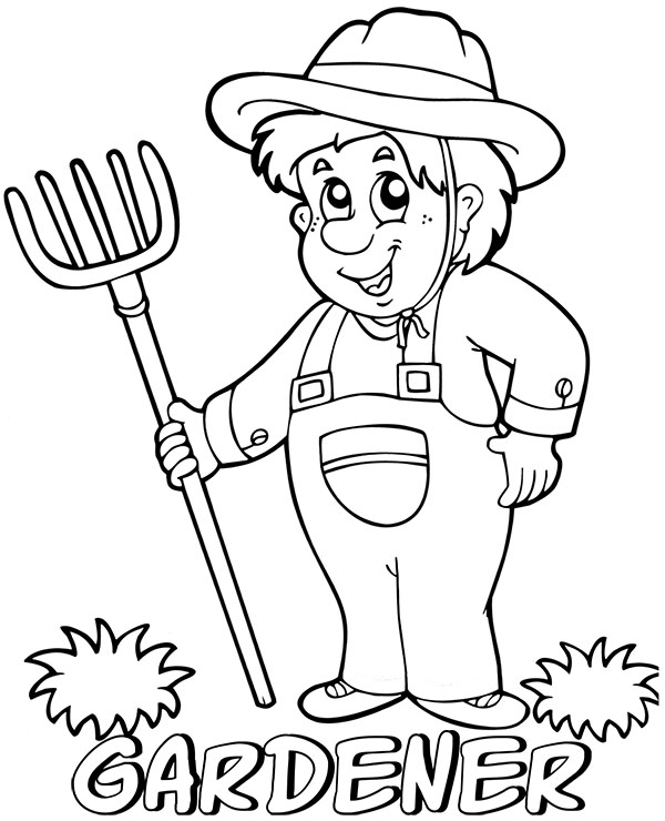 Gardener comics style coloring pages for children