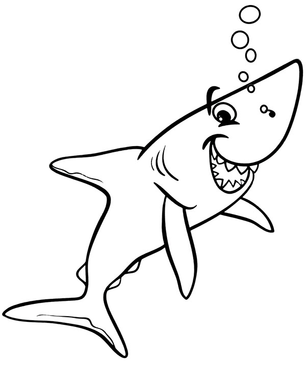 Easy Shark Coloring Page Topcoloringpages Net