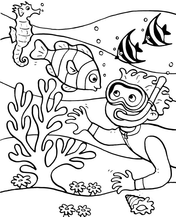 Coral Reef Coloring Page : coral, coloring, Diver, Coloring, Topcoloringpages.net
