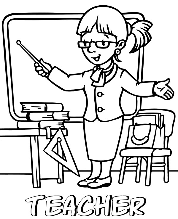 High-quality Lady teacher coloring page to print for free