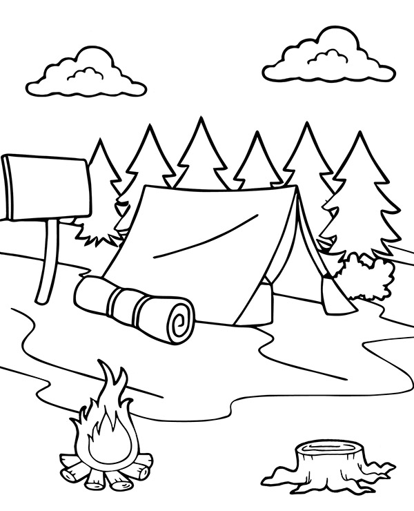 Tent camp in the forest new summer coloring pages