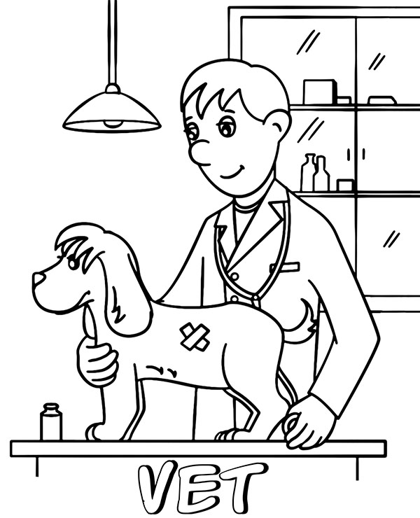 Vet examines a dog coloring page printable picture