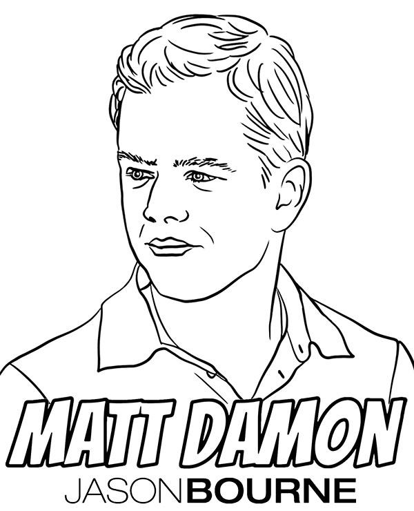 Matt Damon coloring page Jason Bourne coloring sheet