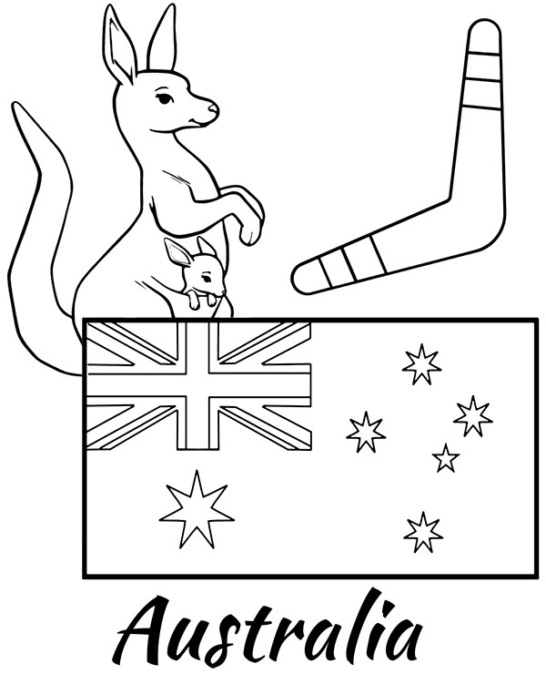 Australian flag coloring page for children kangaroo and