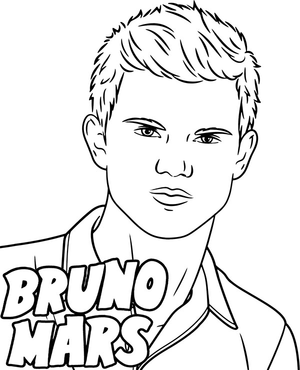 Printable coloring page Bruno Mars coloring sheet pop star