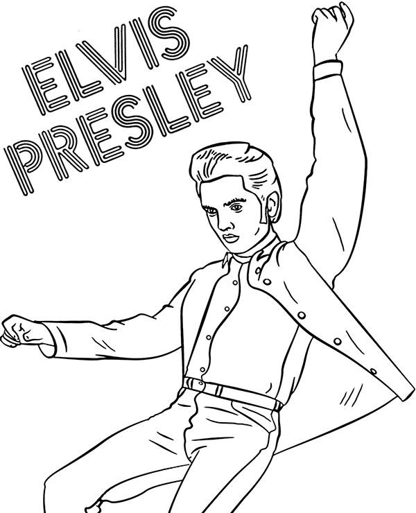 Elvis Presley Coloring Pages : elvis, presley, coloring, pages, Rock'n'roll, Elvis, Presley, Coloring, Pintable, Picture