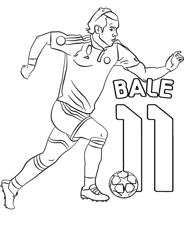 Gareth Bale coloring page to print or download footballer